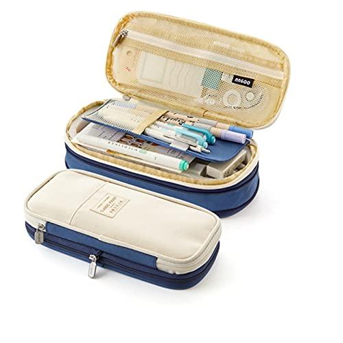 LZYMLG Estuche para lápices, clásico estilo nórdico, plegable, bolsa de almacenamiento para cosméticos, viajes, escuela, oficina, azul, 22 x 10 x 18,5 cm