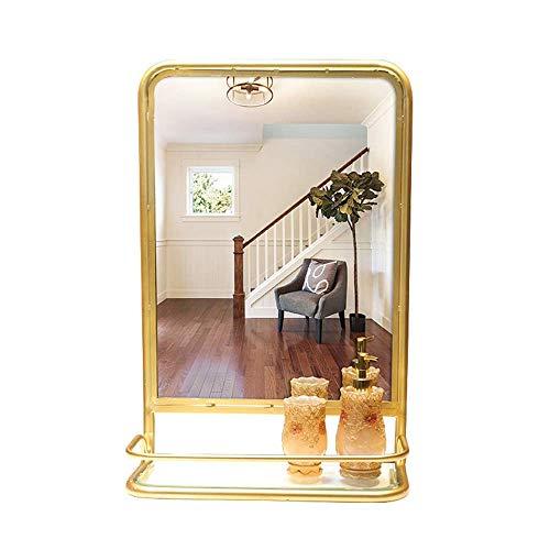 """Espejo de baño Europeo de 17.71""""x26.37 x2.95 con Marco de Hierro Espejo de tocador Rectangular para Lavabo con Estante de Almacenamiento Espejo de Maquillaje Dorado"""