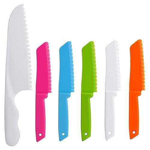 ONUPGO - Juego de cuchillos de cocina (6 piezas, plástico, con bordes de corte serrados, cuchillos de nailon para niños y niños para frutas, pan, tartas, lechugas y ensalada)