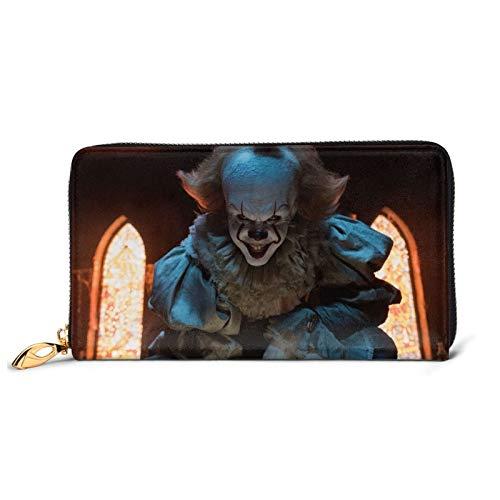 It Pennywise - Cartera larga de piel para billeteras, resistente al agua, diseño de cartera de lujo con cremallera alrededor del titular de la tarjeta, bolso de viaje, tamaño único
