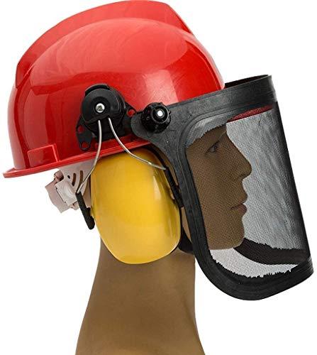 Sicherheitsschutzhelm Arbeitshelm mit Schutz Earmuffs und Netzsonnenschild, Metal Splash Maske, explosionssichere Gesichtsmaske, Rasenmäher Schutz Maske Bauarbeiter Helm mit Ventilatio,Rot