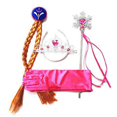 4 accesorios - carnaval - halloween - anna - trenzas - varita - corona - guantes - idea de regalo para cumpleaños
