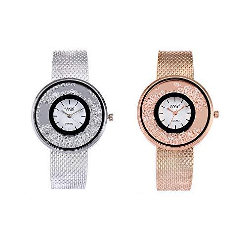 Souarts Damen Rosegold Farbe Edelstahl Uhrarmband Treibsand Armbanduhr Quartzuhr Analog Armreif Uhr mit Batterie
