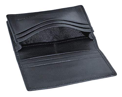 RFID Slim Wallet Men Thin Bifold Front Pocket Wallet Genuine Leather Card Holder (Black)