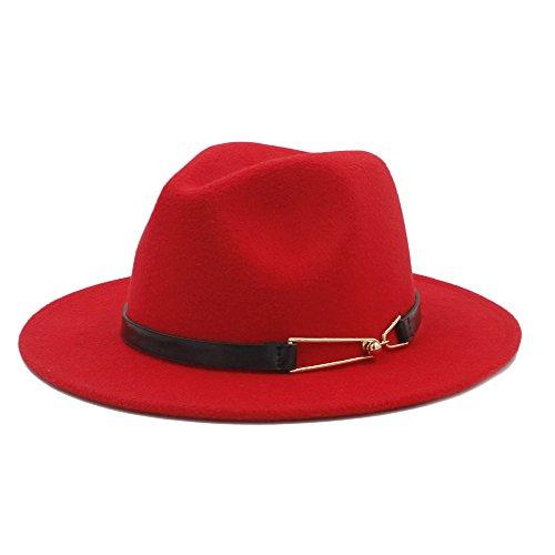 JDON-HAT Wollhoed Fedora Fashion Fedora hoed met elegante riem van legering