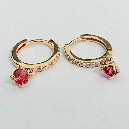 Cute New Rose Gold Plated Round Hoop Earrings w/Dangling Ruby Red CZ & Accents