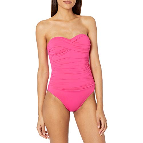 La Blanca Women's Standard Island Goddess Rouched Front Bandeau One Piece Swimsuit, Pink, 0
