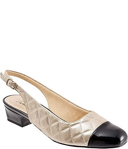[トロッターズ] シューズ 25.5 cm サンダル Dea Quilted Slingback Block Heel Pumps Gold Quilt レディース [並行輸入品]
