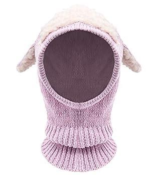 Bienvenu Baby Boy Girl Crochet Chenille Beanie Hat Vivid Ear Trooper Caps Warm for Fall Winter,Pink_Soft Chenille