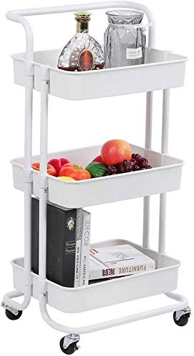 Homepeaz 3 Tier Metal Rolling Utility Storage Shelf Organizer Rack, Handles Trolley Organiser Cart Shelves with Casters, Craft Art Island, Tower Baskets for Bathroom Kitchen Kid's Room Laundry (White)