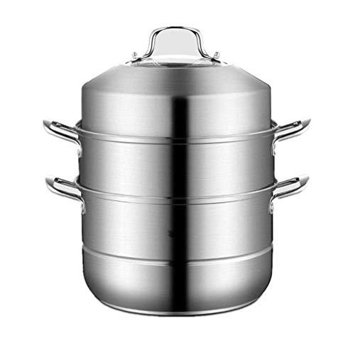 HZXLYG Semplice e Bella HzPDGSteamer 3 Tier Acciaio Inox Addensare Tre Piani Steamer Pentole Pot Salsa Piatto Multi-Layer Caldaia