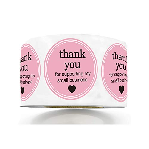 """1.5"""" Round Thank You for Supporting My Small Business Sticker Labels with Hearts - Printed Pink/White Small Business Thank You Stickers 500 Thank You Labels Per Roll (1.5 inch)"""