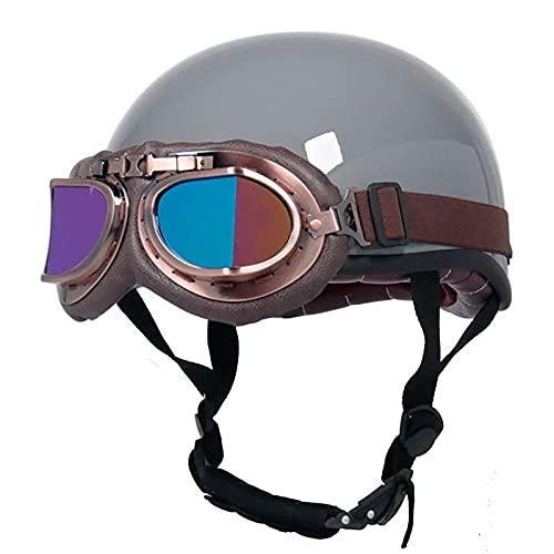 Casco de Moto Retro,Medio Cascos con Gafas de Protección Casco Moto De Cara Abierta,ECE Homologado Four Seasons Universal Moto Cascos Half-Helmet C,L=59~60cm