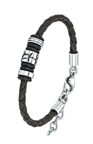 s.Oliver Kinder-Armband Boys Edelstahl Leder 18 cm - 460460