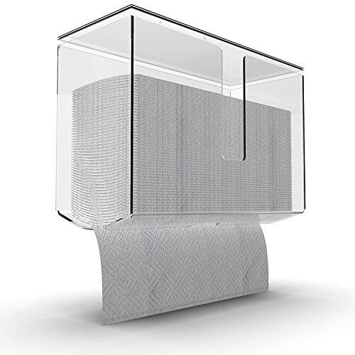 Yieach Papierhandtuchspender mit Deckel, zur Wandmontage, transparent, gefaltet, für Badezimmer, WC und Küche, geeignet für Z-Falz, C-Falz oder mehrfach gefaltete Papierhandtücher, 1 Stück