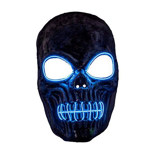 Wicked Costumes Costumi malvagi Adulto Unisex Skeleton Reaper Neon Blue Light Up Mask - Accessorio di Halloween Fancy Dress