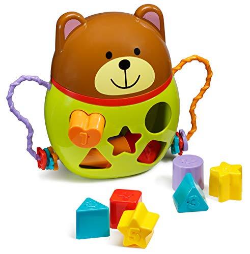 Playkidz permanent vormsorteerder/teddybeervormen sorteerspel voor baby's/kinderen die spel-/peuter-vormensorteerders leren om het leren in blokken met verschillende vormen te maximaliseren.