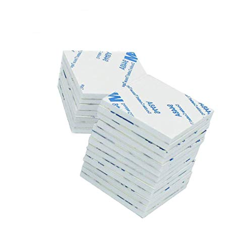 Adhesivo de doble cara, almohadillas de espuma adhesiva fuerte (blanco, 76 x 76 mm) para paredes y suelos, puertas, plástico, 20 unidades