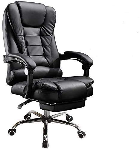 panthem High Back Executive Chair, Massage PU Leather Large Seat Computer Desk Chair with Footstool, Extra Padded Ergonomic Office Chair, Synchro Tilt Mechanism, 360 Degree Swivel, 150kg Capacity