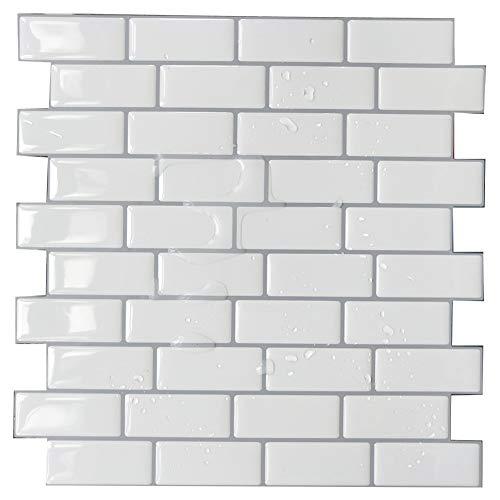 Adhesivo adhesivo para azulejos de pared, adhesivo 3D para azulejos, para cocina, azulejos, color negro, blanco y gris