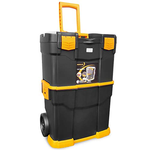 Goplus Stackable Tool box w/Removable Tray, Portable Rolling Tool Storage Case for Workshop Garage, Made in Italy