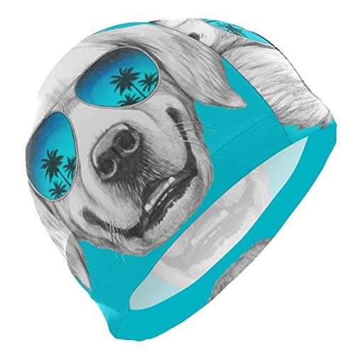 Tcerlcir Gorro Natación Cachorro De Cara De Perro Animal De Dibujos Animados Lindo Gorro de Piscina para Hombre y Mujer Hecho de Silicona Ideal para Pelo Largo y Corto
