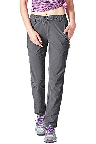 TBMPOY Women's Lightweight Hiking Pants Quick Dry Outdoor Camping Fishing Zipper Pockets Dark Grey L