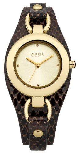 OASIS Damen-Armbanduhr Analog Leder Braun B1398