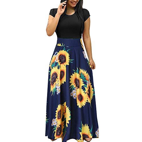 showsing-vrouwen kleding Womens Lange Mouw Bloemen Boho Jurk Mode Stip Bloemenprint Lange Maxi Korte Mouw Slanke Jurk Dames Mouwloos Casual Jurk UK Size