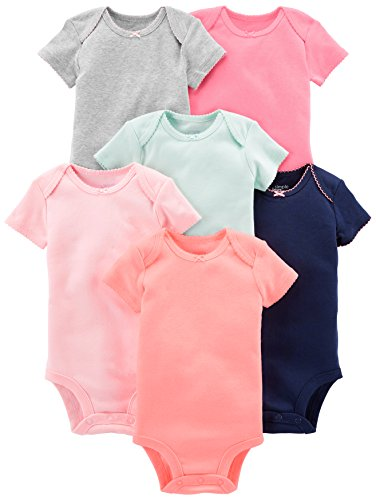Simple Joys by Carter's Baby Girls' 6-Pack Short-Sleeve Bodysuit, Solid, 3-6 Months