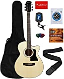 Vault 40-Inch Cutaway Acoustic Guitar - Natural Bundle with Gig Bag, Tuner, String, Picks, Strap, Fender Play Online Lessons, and Austin Bazaar Instructional DVD