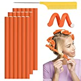 Hair Twist Flexi Rods, Flexible Curling Rods 30Pcs, Twist Foam Hair Rollers Soft Foam No Heat Hair Rods Rollers and Steel Pintail Comb Rat Tail Comb for Women Girls Long and Short Hair(9.5''x0.27'')