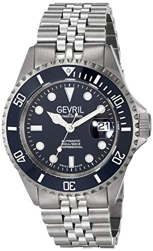 Gevril Men's Wall Street Swiss Automatic Watch with Stainless Steel Strap, Silver, 22 (Model: 4853B)