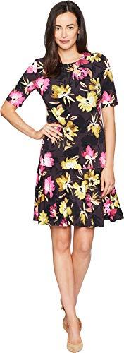 ELLEN TRACY Women's Elbow Sleeve Dress with Flounce Hem, Rainbow FLWRS/Multi, L