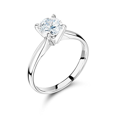 Abelini 1.00 Carat Certified I1/HI 100% Natural Round Diamond Solitaire Engagement Rings for Women In 18K White Gold