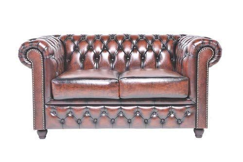 The Chesterfield Brand -Divano Chester Brighton Antico marrone-2 posti-Pelle vera- Fatto a mano