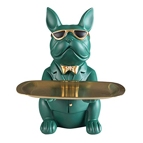 Yuanhong Bulldog Holding Storage Tray, Cute Animal Sculptures Resin Keys Candy Dish Jewelry Earrings Holder Home Living Room Bedroom Entrance Table Desk Decor -Random Color