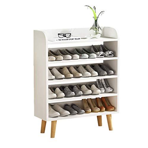Zapatero Zapatero de cinco pisos Inicio Entrada de múltiples capas Gabinete de zapatos Altura 99 cm Diseño minimalista moderno con capacidad for 16 pares de zapatos (blanco) Estante para Zapatos