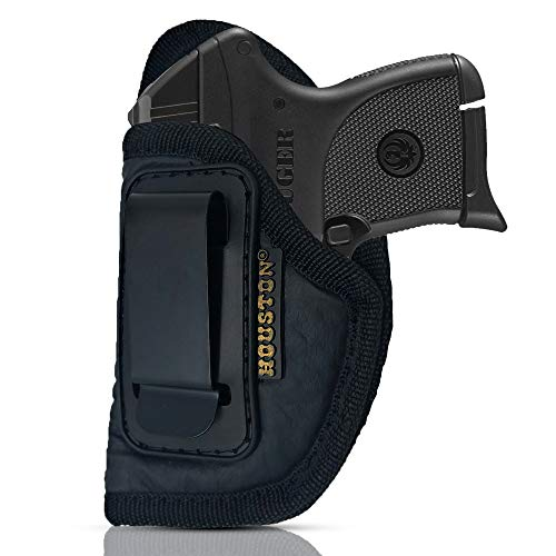 IWB Gun Holster by Houston - ECO Leather Concealed Carry Soft Material | Suede Interior for Protection | Fit: S&W Bodyguard, Taurus TCP, Sig P238, Jimenez JA, PPK380. Ruger (Left) (CHP-71-LH)