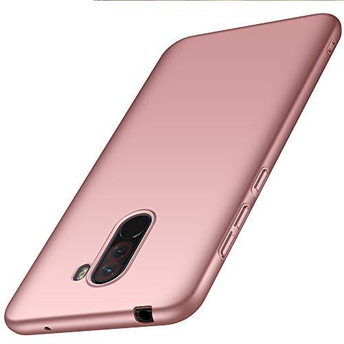 ORNARTO Hülle für Xiaomi Pocophone F1 6,18',F1 Ultra Dünn Schlank Stoßfest, Anti-Scratch FeinMatt Einfach Handyhülle Abdeckung Stoßstange Hardcase für Xiaomi Pocophone F1 (2018) 6,18 Zoll Rose Gold