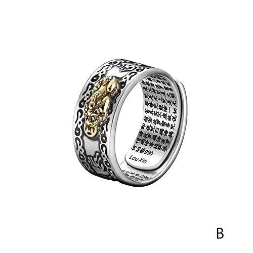 ZHANGJSechs Zeichen Damen Silber Ring Männer Feng Shui Amulett Glück Offen Einstellbaren Ring Buddhistischen Schmuck Geschenk, Veränderbar, Eine Frau