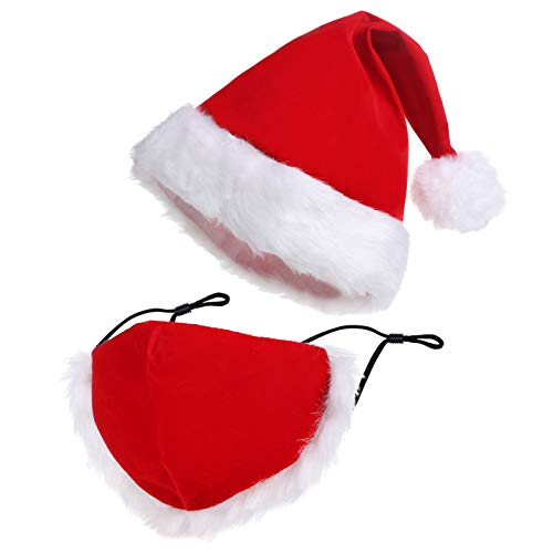Christmas Hat Santa Hat Adults Christmas Face Cover Fur Thicken Classic Santa Claus Hat for Xmas New Year Festival Holiday Christmas Party Supplies