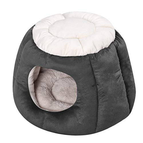 VNEIRW Kreativ Zelt Form Warm Katzenhöhle, Hundebett, Katzenkorb, Hausnest, Katzenhaus, Hundekorb, Hundehöhle, Hundehütte, Halb Geschlossen Katzenbett für Haustier Tiefschlaf (M, Grau)