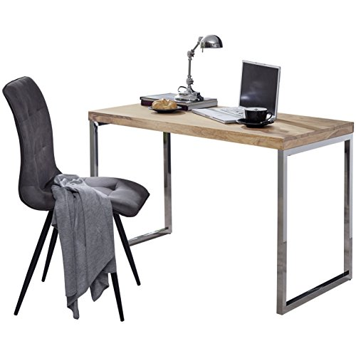 Wohnling Schreibtisch Guna Massivholz Akazie, Computertisch 120 x 60 cm aus echtem Holz, Laptoptisch im Landhaus-Stil, Konsolen-Tisch mit Metallbeinen, Arbeitstisch dunkelbraun
