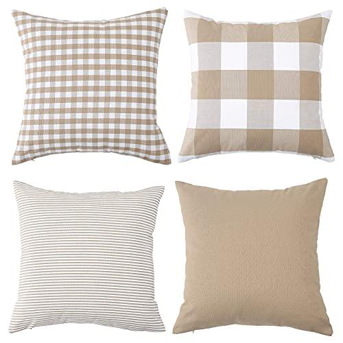 Set di 4 federe decorative in cotone a quadri quadrati a righe, per divano, camera da letto, divano, 45 x 45 cm, beige