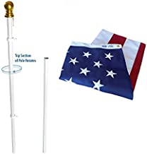 American Flag and Flagpole Set Estate kit - 6 ft. 2 Section White Spinning Pole that Rotates 360 Degrees with US Flag 3x5 ft. SolarGuard Nylon.