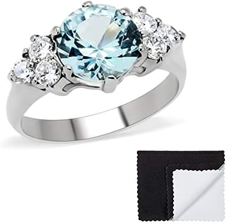 The Bling Factory Stainless Popular overseas Steel Aqua Cubic Zirconia Prom Fixed price for sale Round