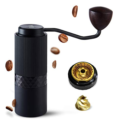 Manual Coffee Grinder, Hand Coffee Grinder with Adjustable Conical Steel Burr, Stainless Steel Burr Mill, Portable Mill Faster Grind Efficiency for Office, Home, Traveling