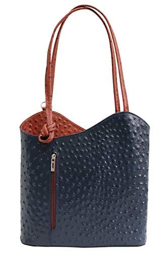 AMBRA Moda Damen Handtasche Lederrucksack Rucksacktasche Backpack 2in1 Rucksack Schultertasche SL703, Marine + Braun, Einheitsgröße