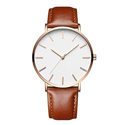 WMYATING Exquisito, Hermoso, decente, novedoso y único. Relojes de Pulsera Moda Moda Deporte Relojes BetReasure Ultra Thin Mens Relojes Relojes Cuero Casual Reloj de Pulsera Reloj Masculino, E